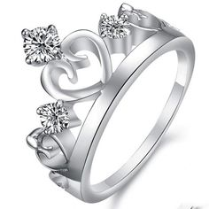 Korean Style Noble Crown White Gold Plated Crystal Women's Ring - USD $36.95