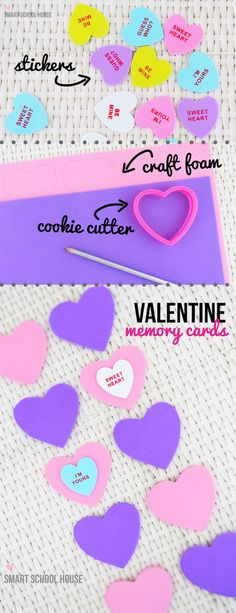 This DIY Valentine Memory Cards tutorial combines an adorable craft with a little learning.  | holiday kids crafts