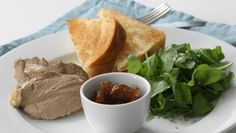 Chicken liver parfait with spiced apple chutney and Melba toast Chicken Liver Pate, Chicken Livers, Brandy Recipe, Mousse, Liver Recipes, Food Words, Serving Plates, Tray Bakes, A Food