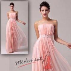 Lososové plesové šaty korálky
