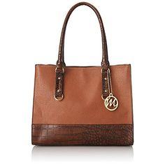 EMILIE-M-. Kimberley-Brown Leatherette-Tote-Handbag-Purse-Large. REF 6147/L.