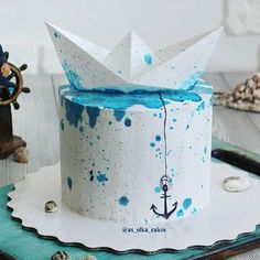 Nautical cake!  #nauticalcake #nauticalparty #nautical #cake #birthdayideas #birthdaycake Sailboat Cake, Nautical Cake, Navy Cakes, Pink Cakes, Birthday Drip Cake, Birthday Cakes, Anchor Cakes, Thank You Cake, Camo Wedding Cakes