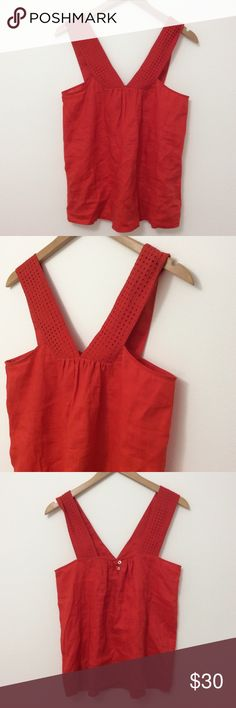 💕OFFER PARTY - J. Crew | Eyelet Strap Top Gorgeous eyelet strap top from J. Crew. Fully lined, two buttons at the back. Beautiful red color. New without tags! J. Crew Tops Tank Tops