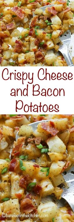 Crispy Cheese and Bacon Potatoes are great for breakfast lunch or dinner! get Crispy Cheese and Bacon Potatoes are great for breakfast lunch or dinner! get the recipe at barefeetinthekitc Source by stayathomechef Vegetable Dishes, Vegetable Recipes, Yummy Food, Tasty, Side Dish Recipes, Bacon Recipes For Dinner, Healthy Recipes For Lunch, Soft Food Recipes, Quick Easy Lunch Ideas