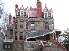 "1 Overlook Lane, Little Falls, NY, 13365. Queen Anne Romanesque Revival High Victorian style. Built late 1880s (possibly 1887-89) by inventor & gentleman farmer David H. Burrell, this property, known as ""Overlook,"" is an architectural gem worthy of preservation. It is currently sitting unused and abandoned."