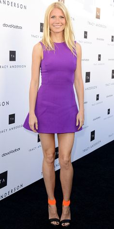 Paltrow celebrated the opening of Tracy Andersons flagship studio in a vibrant Victoria Beckham mini and neon Michael Kors sandals.