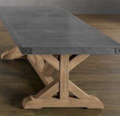 RH concrete & teak table - 108 inches long