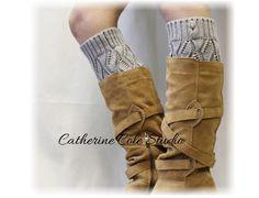 Leg warmer, OPULENT ELEGANCE, knitted, crochet, buttons, socks, fall, boots, Silver LW18