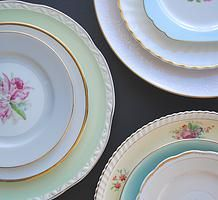 Vintage floral plate collection for hire for weddings and events