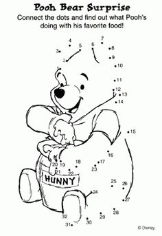 DISNEY COLORING PAGES: DISNEY CONNECT THE DOTS - WINNIE THE POOH