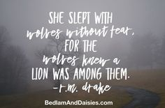 She slept with wolves without fear, for the wolves knew a lion was among them. -r.m. drake  #quote #rmdrake #girlboss #selflove #selfdiscovery #strength #inspiration #motivation #inspirationalquote #confidence #power #fearless