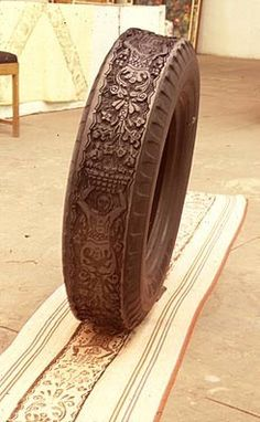 Tire stamp....carved and printed