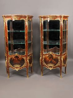 A Superb Pair of Late 19th Century Louis XV Style Gilt Bronze Mounted Vernis Martin Vitrines  By François Linke