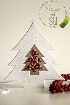 Anhänger Tannenbaum Kreuzstich Weihnachten / Christmas Tree Cross Stitching / Sticken Mit Stil