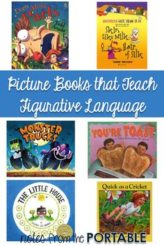 Great books for teaching figurative language: idioms, personification, similes, metaphors, onomatopoeia Teaching Poetry, Teaching Reading, Learning, Teaching Ideas, Teaching Resources, Reading Club, Shared Reading, Reading Activities, Reading Skills