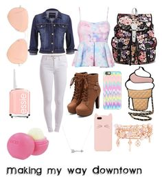Making my way Downtown by missdrama2014 on Polyvore featuring polyvore fashion style maurices Pieces Henri Bendel Adina Reyter Ray-Ban Kate Spade Casetify Eos Essie