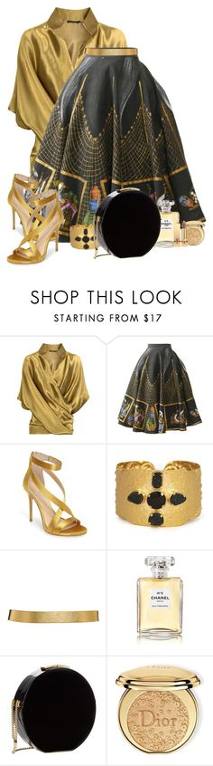 """Vintage 1950's Hand Painted Mexican Skirt"" by flowerchild805 ❤ liked on Polyvore featuring Donna Karan, Imagine by Vince Camuto, LindseyMarie, ASOS, Chanel, Elie Saab, Christian Dior, Yves Saint Laurent and vintage"
