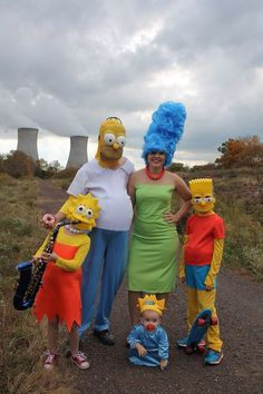 The Simpsons. We wanted to dress up for Halloween as a family & my son had the great idea of dressing like the Simpson Family! Our family vacation this year to Universal really brought the Simpsons to life for our children. At this time not only was our family a perfect fit so was our location our local Nuclear Power Plant!