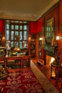 Traditional Library with Karastan wool and silk 12x8 oriental rug, Standard height, Wall sconce, brick fireplace, Paint 2