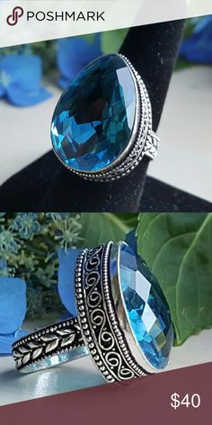 Facated Swiss blue topaz ring Gorgeous blue stone set a vintage 925 sterling silver setting Robin's Nest Jewels  Jewelry Rings