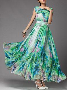Sleeveless Casual Floral-print Crew Neck Maxi Dress