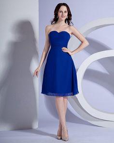 Sweetheart Chiffon Sash Knee Length Bridesmaid Dress Gown