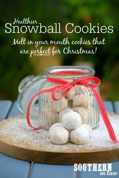Looking for a healthy Christmas Cookie Recipes? You would never know these Snowball Cookies were healthier or gluten free! The secret ingredient, cream cheese, gives them an incredible flavour and makes the cookies melt in your mouth! Low fat, lower sugar, gluten free, healthy, egg free and so easy to make! Pop them in a jar and tie them with a ribbon for the perfect homemade Christmas gift!