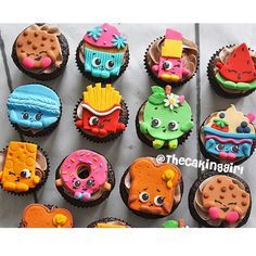 Shopkins Birthday Party Ideas! Cute shopkins cupcake toppers made with gumpaste/fondant. www.thecakinggirl.ca