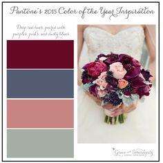 grace and serendipity - marsala inspiration board - maroon, slate, pink, green wedding