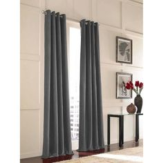 CHF Messina Slate Blue Cotton Room Darkening Standard Lined Single Curtain Panel at Lowe's. Lusciously soft and supple, this lovely traditional velvet drapery panel adds drama and dimension to your window decor. Heavy weight cotton velvet is Lined Curtains, Grommet Curtains, Window Curtains, Purple Curtains, Bordeaux, Drapery Panels, Messina, Space Furniture, Modern Furniture