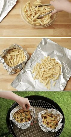 And grill frozen fries (plus bacon cheese) in foil for the ultimate snack pack… Grill frozen French fries (plus bacon cheese) in foil for the ultimate snack wrap. 20 Legit Brilliant Snack Hacks that you should know now Frozen Pineapple, Frozen Banana, Snack Hacks, Food Hacks, Tater Tot Waffle, How To Make Waffles, Foil Pack Dinners, Butter Popcorn, Bacon