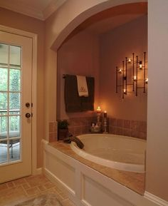 Alcove Bath. Love the arch! I want this so bad!!! WITH pillars at entry, skylight and steps
