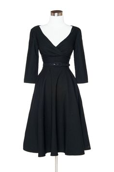 Erin Swing Dress in Three-Quarter Sleeves in Black - Plus Size