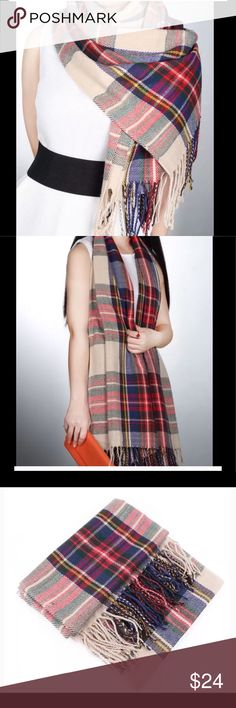 Scarf oversized checkered tartan scarf 🆕 wrap This is a beautiful, stylish oversized women's checkered, tartan scarf, wrap brand new in package and comes from a smoke free home.  Would make an excellent gift 🎁 .  Buy with confidence I am a Posh Ambassador, top rated seller, mentor, and fast shipper . Don't forget to bundle and save.  Thank you. Accessories Scarves & Wraps