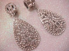 Wedding Rhinestone Dangle Ear PLUGS / / dangle plugs Rhinestone chandelier drop tunnels and silver crystal wedding ear plugs Plugs Earrings, Gauges Plugs, Wedding Plugs, Wedding Eye Makeup, Tunnels And Plugs, Body Glitter, Crystal Wedding, Body Jewelry, Dangles