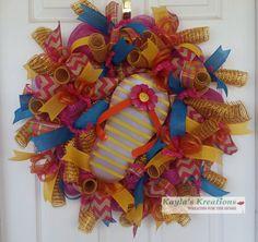 Spring Deco Mesh Wreath, Flip Flop Wreath, Burlap Chevron Wreath, Turquoise Wreath, Spring Wreath Front Door, Beach Wreath, Burlap Ribbon for $75.00 by Kayla's Kreations