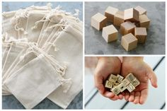 Story Blocks :  Muslin Bags with Wood Cubes- Are your kids bored? How about making story cubes? Draw a simple picture on them then roll a cube. Whatever it lands on that is how the story takes off.  Muslin bags are the perfect party favor. Stick a treat in them and hand them out at bridal or baby showers, receptions, birthday parties, or any other special event.