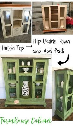 repurposed furniture Think an old entertainment center/hutch top cant be used without its base Think again! I repurposed this piece of junk into a beautiful farmhouse cabinet. Diy Furniture Redo, Green Furniture, Country Furniture, Refurbished Furniture, Repurposed Furniture, Furniture Projects, Furniture Design, Antique Furniture, Furniture Stores