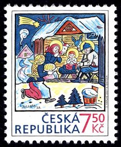 CZECH REPUBLIC - CIRCA Christmas post stamp printed in Czechoslovakia (Ceska) shows nativity scene by Josef Lada; birth of jesus Christ at bethlehem; Christmas Manger, Christmas Post, Christmas Themes, Christmas Cards, Birth Of Jesus Christ, Commemorative Stamps, Stamp Printing, Vintage Stamps, Stamp Collecting