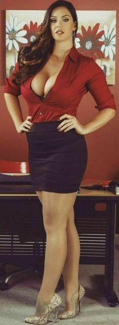 Hot girls in sexy: Red black office fashion Sexy Outfits, Sexy Dresses, Black Outfits, Hot Girls, Sexy Women, Vestidos Sexy, Sexy Legs, Gorgeous Women, Ideias Fashion