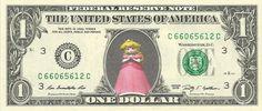 PRINCESS PEACH - Mario Brothers Mario Kart - Real Dollar Bill Cash Money Collectible Memorabilia Celebrity Novelty by Vincent-the-Artist, $7.77 USD