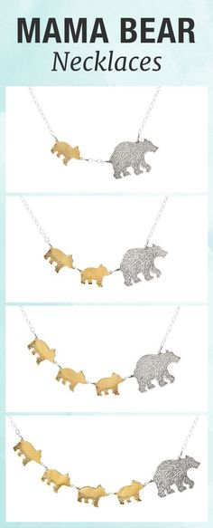 Capture the fierce protection and love you have for your children with this mama bear and cub necklace. - Capture the fierce protection and love you have for your children with this mama bear and cub necklace. Body Jewelry, Jewelry Gifts, Fine Jewelry, Jewelry Necklaces, Jewelry Making, Opal Jewelry, Gold Jewellery, Handmade Jewelry, Jewelry Dish