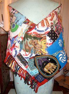 Wearable Art Neck SCARF CLOISONNE Color Crazy Quilt Patchwork  Wool Tartan Scotland  Upcycled Fabrics Handmade  mybonny