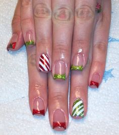 Day 358: Festive Nail Art--I have no idea who did this first... but it makes me want to get tips put on just so I can do it!