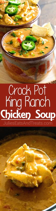 Crock Pot King Ranch Chicken Soup ~ Your Favorite King Ranch Chicken Casserole Flavor Turned into a Comforting Soup Made in Your Slow Cooker! via @julieseats