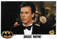 "Item Description Name Batman Title Bruce Wayne Format Movie Trading Card Card Company and Number Topps Size X Country of Origin United States Year of Issue 1989 Condition of Item M- (Near Mint) Notes Michael Keaton as ""Batman/Bruce Wayne"" Michael Keaton Batman, Batman Pictures, Batman The Animated Series, 3 Movie, The Dark Knight Rises, Superhero Movies, Comics Universe, Detective Comics, Tim Burton"