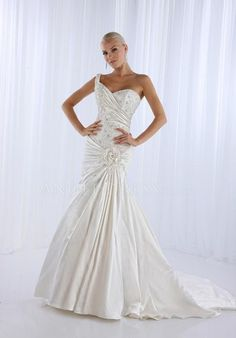 A line Satin Dropped One Shoulder Floor Length With Flowers Bridal Gown