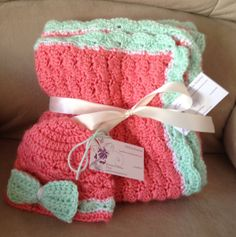 Beautiful soft shell baby blanket and matching hat set on Etsy, $45.00