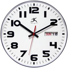 #Round #Wall #Clock Date Time Display Quartz Battery Powered Minute Hand Home Decor