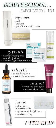 handy cheat sheet for products used to exfoliate & their primary purposes